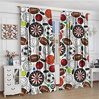 TBRfine Sports, Blackout Curtains, Billiards Balls Hockey Pucks, for Kitchen, Bedroom, Living Room, 84x84 inch