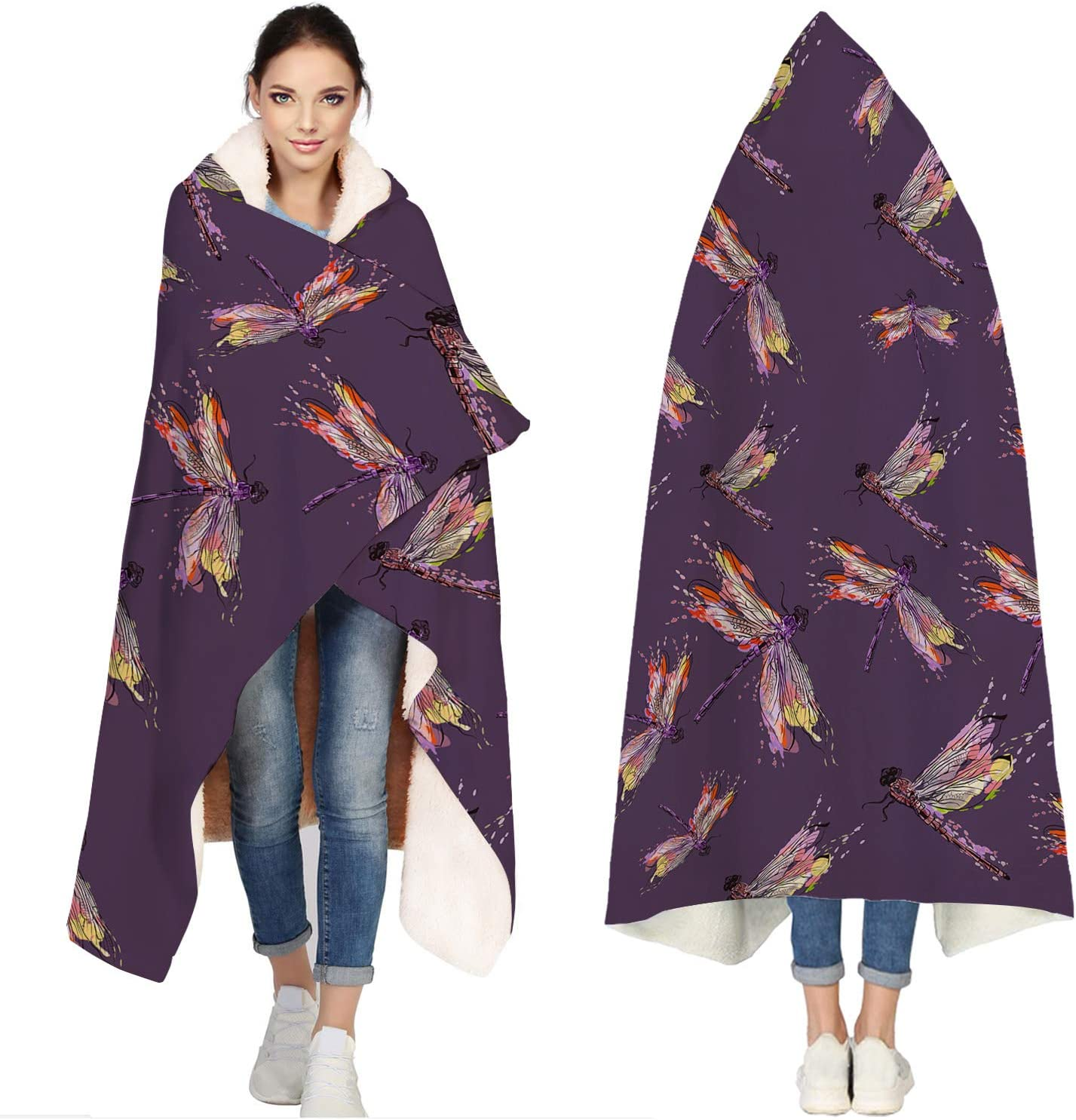 Max 87% OFF Seven Direct sale of manufacturer Roses Hooded Blankets for Adults Dragon Watercolor Simple