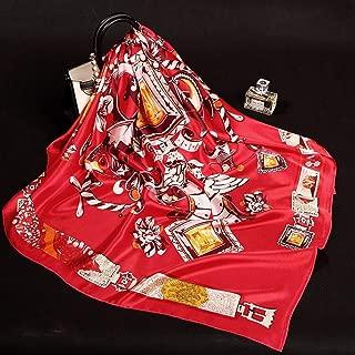 YANGBM Scarf Silk Silk Large Square Scarf Autumn and Winter 100% Silk Scarf Temperament Wild Shawl Scarf (Color : E)