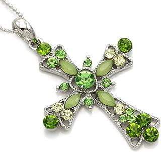 Light Green Christian Cross Heart Shape Pendant Necklace Chain Charm Fashion Jewelry