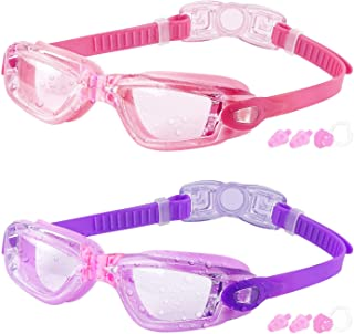 Kids Swim Goggles, 2 Packs Crystal Clear Swimming Goggles...