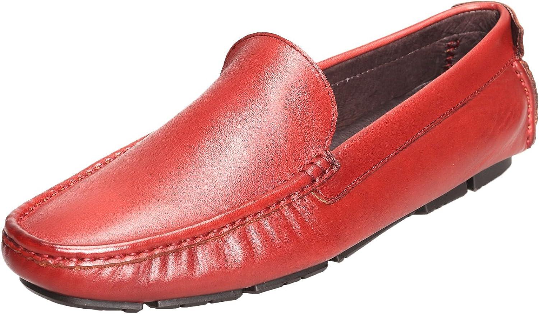 Santimon herrar Comfort Genuine läder läder läder Slip -on Mocasins Loafer Doug skor Vine röd -44  unik form