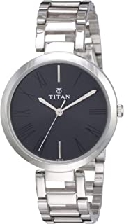 Titan Women's Contemporary Chronograph/Multi Function/Work Wear,Gold/Silver Metal/Leather Strap, Mineral Crystal, Quartz, ...