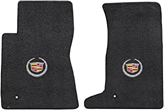 2pc Ebony Black Velourtex Front Floor Mat Set w Crest & Wreath Logo for 2011-2015 Cadillac CTS-V Coupe
