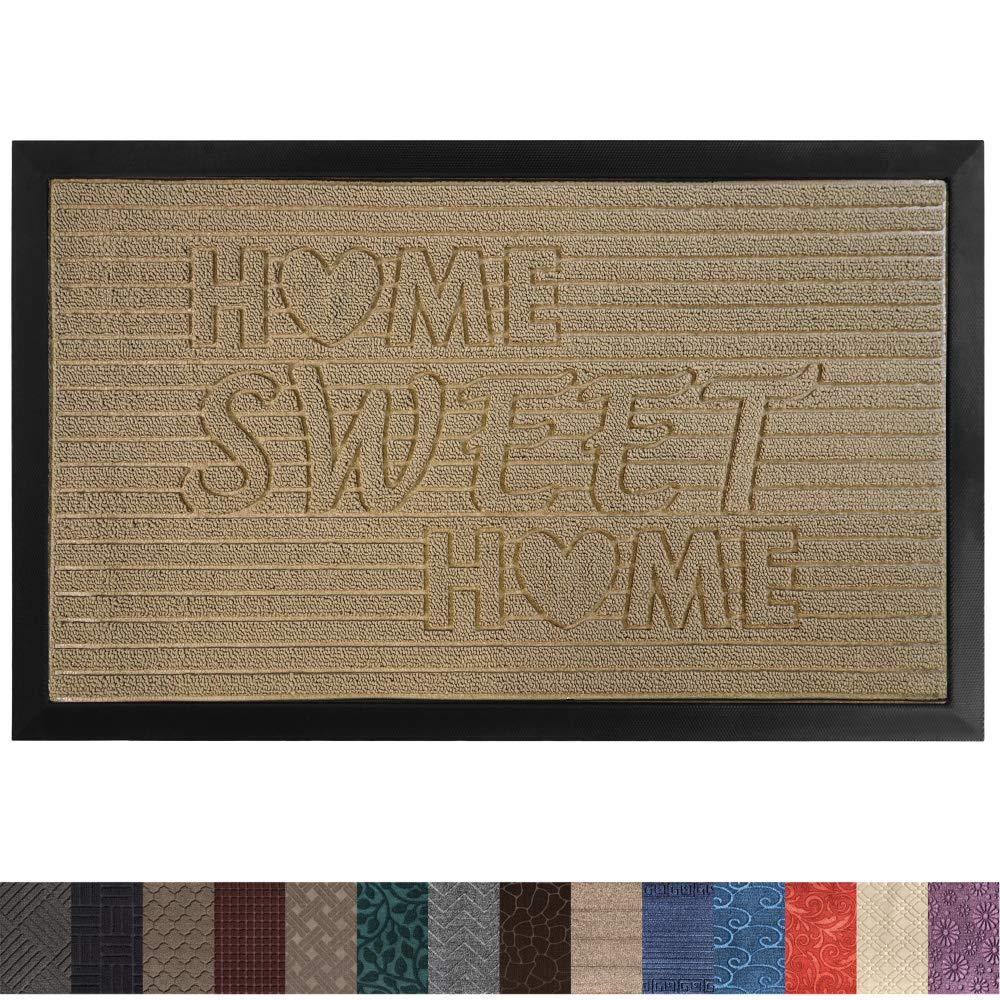 Gorilla Grip Original Durable Rubber Door Mat, 29x17, Heavy Duty Doormat for Indoor Outdoor, Waterproof, Easy Clean, Low-Profile Rug Mats for Entry, Patio, High Traffic Areas, Beige Home Sweet Home