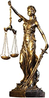 Lady Justice Scales Statue Figurine Decor, Retro Greek Roman Goddess Of Justice And Fairness European Style Decoration,Gold