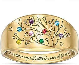 2PCS Ladies Anello Pietre Colorate impreziosite da Albero d'oro della Vita Mi sostengo con L'Amore familiare Anello 9号 Ring