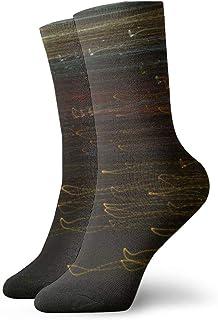 Calcetines deportivos transpirables de poliéster, graciosos y oscuros, para hombre, para mujer, medias deportivas, rayas, 11.8 pulgadas (30 cm)