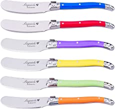 Laguiole by FlyingColors Cheese Knife Butter Spreaders Knife Set, Stainless Steel, MultiColor Handle, 6 Pieces