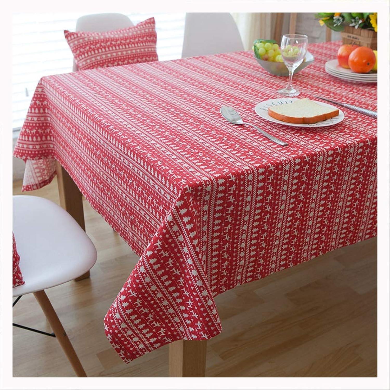DUOMING Manteles Mantel Navidad Sala de Estar Cocina Mesa de Centro Algodón y Lino Mantel Rojo Rectangular (Tamaño   140cm220cm)