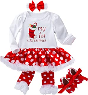 Christmas Outfit for Baby Girls - Newborn Toddlers 1st Xmas Tutu Dress Set Gift