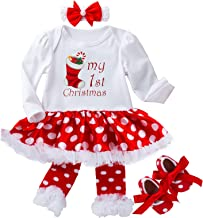 HappyDoggy Child Christmas Outfit for Baby Girls - Newborn Toddlers 1st Xmas Tutu Dress Set Gift