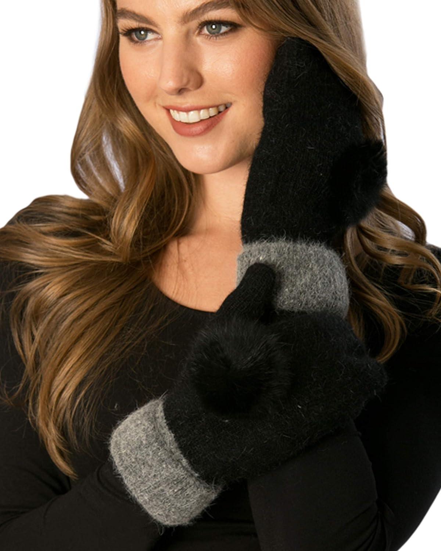 APPARELISM Women's Girl's Winter Soft Warm Mitten Glove With Pom Pom.