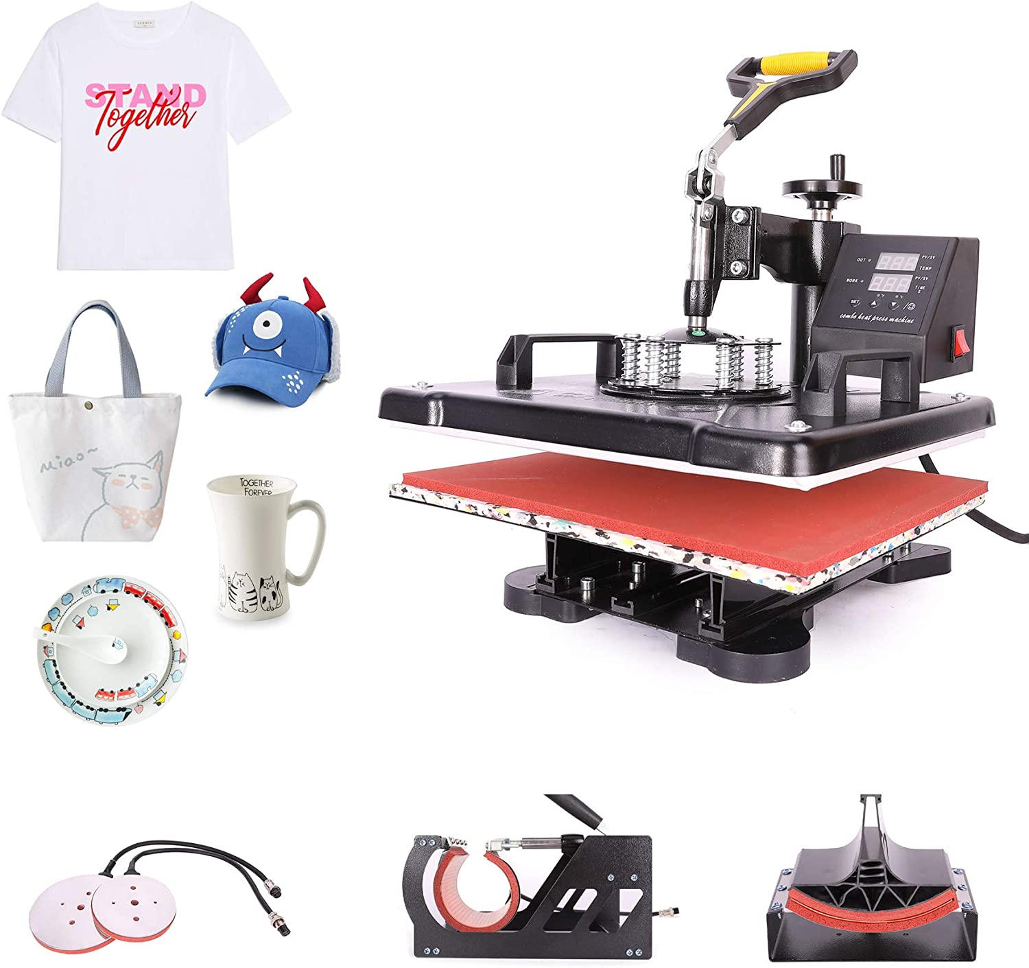 CO-Z 5 in 1 Pro Heat Press Machine 12 x 15 Intelligent Audible Alarm Transfer Sublimation Printer Swing Away Multifunctional for T-Shirt//Hat//Mug//Plate//Cap//Cup
