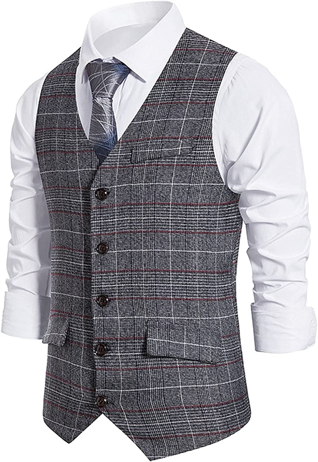 Men's Business Suit Vest Slim Fit Casual Retro Single Breasted Coat Wedding Party Waistcoat to wear with Dress Shirt