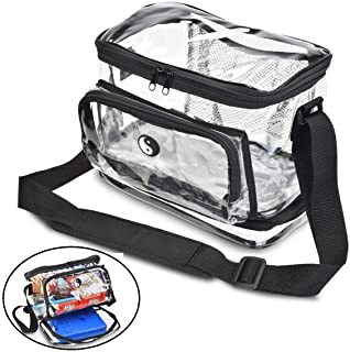 HEAVY DUTY Clear Lunch Bag with Separate Cold Pack Compartment. KEEP YOUR FOOD COOL LONGER! Features Include Adjustable Shoulder Strap & Front Zipper Pocket