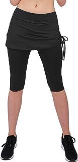 Cityoung Women's Running Cropped Capri Pants Skirted Sport Leggings Sun Protection