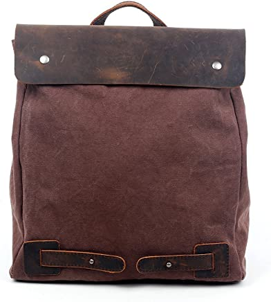 a7b9e522f585 Travel Log Lotus Convertible Backpack Canvas and Genuine Leather Crossbody  Bag