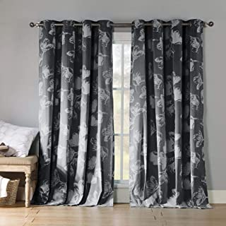 Kensie - Aster Floral Cotton Blend Grommet Top Window Curtains for Living Room & Bedroom - Assorted Colors - Set of 2 Panels (54 X 84 Inch - Charcoal)
