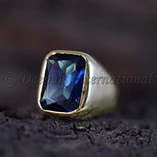 Solid 925 Sterling Silver Ring, Man's Ring, Blue Sapphire Ring, Heavy Ring, Yellow Gold Plating Ring, Antique Ring, Statement Ring, Handmade Ring, Father's Day Gift Ring, Brilliant Gemstone Ring