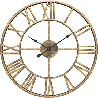 "WGWART Wall Clock, 16"" Round Oversized Ancient Roman Numeral Style Silent Quartz Movement Wall Clock for Home Décor Analog..."