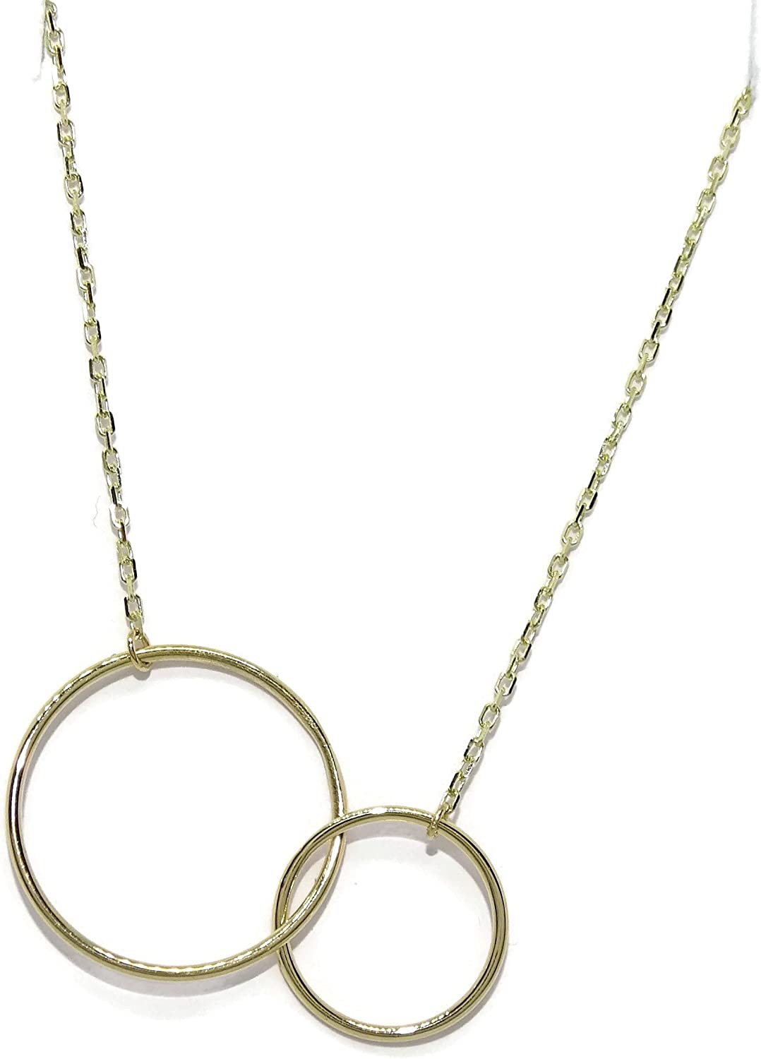 Never say Never 18K Gold Double Ring Collar Necklace Women | Karma Circle Round Pendant Charm Chain 45cm long | Meaningful Jewelry for Her | Made in Italy |