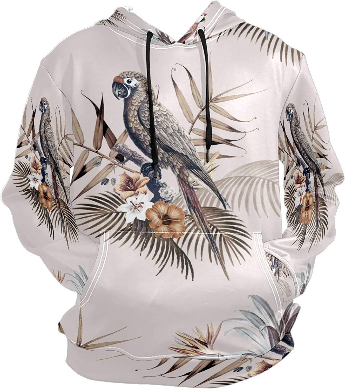 Vintage Macaw Parrot Tropical Mockup Mens Sport Hoodie Big and Tall Hoodies for Men Women Oversized Hooded Sweatshirt Hip Hop Pullover Hoodie Midweight Hood for Boys Girls