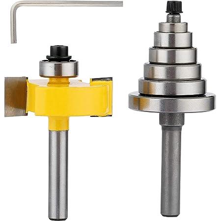"1//2/"" Shank Carbide Steel 1//2/"" H Rabbet Router Bit /& 7 Bearings Trimmer Set US"