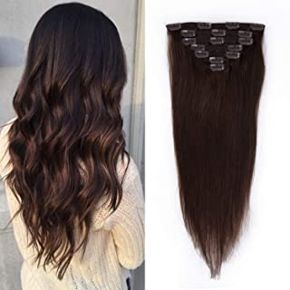16 inches Clip in Hair Extensions Remy Human Hair - 70g 7pcs 16 Clips Straight Thick 100% Real Human Hair Extensions for Women Dark Brown #2 Color