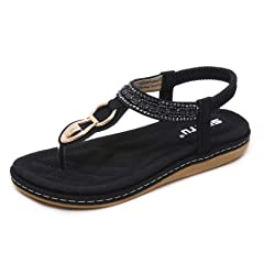 95cf810c273db9 DolphinBanana Bohemian Glitter Summer Flat Sandals Prime Thon .