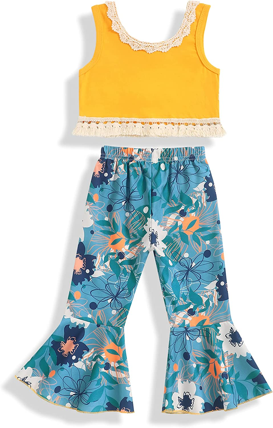 Kids Toddler Baby Girl Clothes Outfit Solid Color Sleeveless Tassel Tops Floral Flared Bell-Bottom Pants Leggings Summer Sets