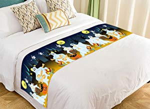 Custom Halloween Party Fantasy Ghost Moon Bed Runner Bedding Scarf Size 20x95 inches