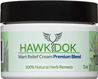 Hawk Dok Genital Wart Relief Cream, Herbal Natural Warts Relief Premium Blend for Men and Women - 1oz