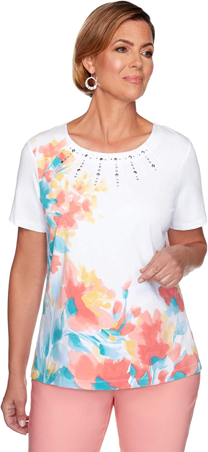 Alfred Dunner Womens Branded goods PetiteASYMMETRIC Floral Max 57% OFF
