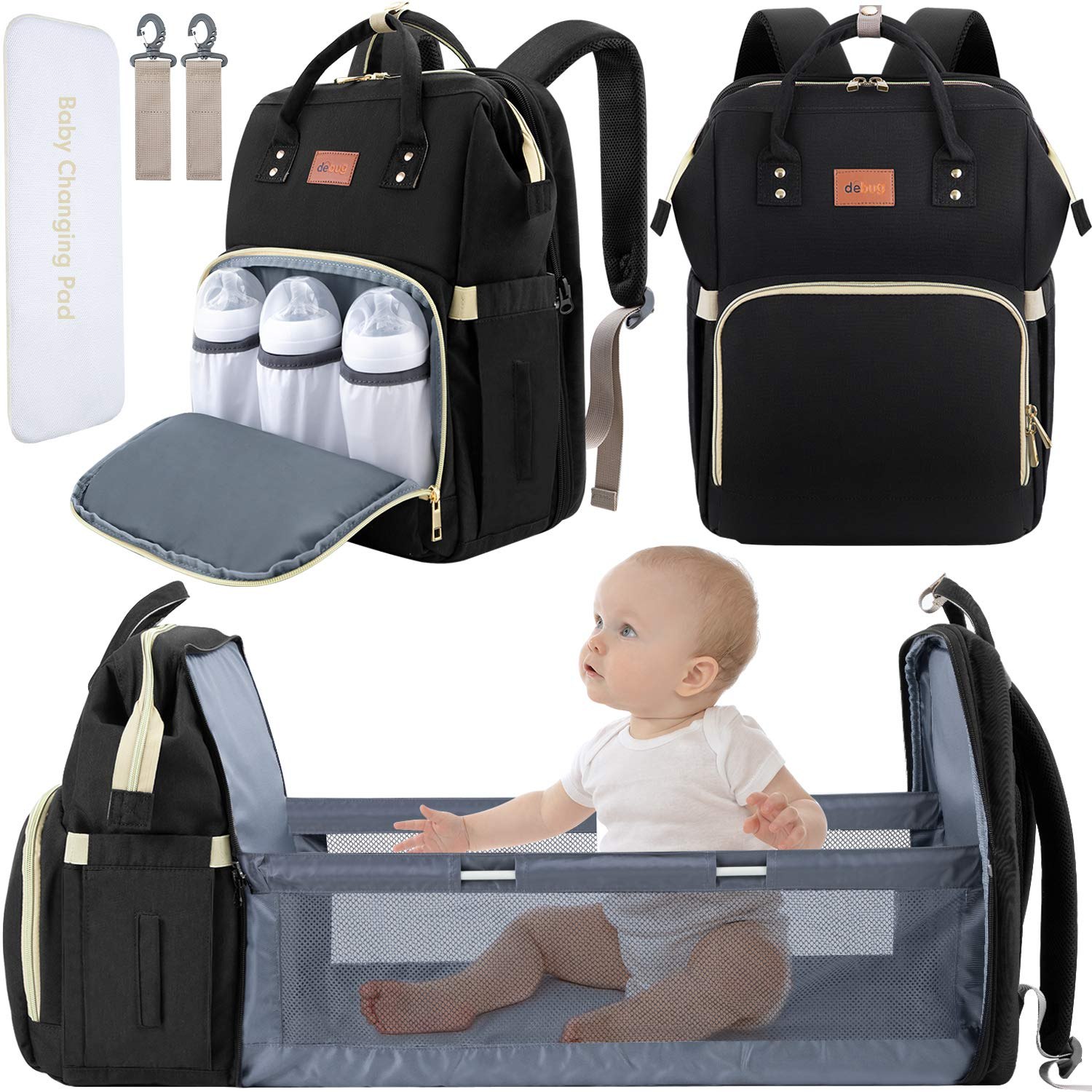 DEBUG Baby Diaper Bag Backpack with Changing Station Diaper Bags for Baby Bags for Boys Girl Diper Bag with Bassinet Bed Mat Pad Men Dad Mom Travel Waterproof Stroller Straps Large Capacity Black