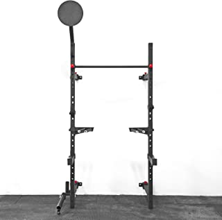Wall Mount Foldable Squat Rack with Accessories (Pullup Bar, Dip Station, Landmine, Wall Ball Target, Spotter Arms, J-Cups, Bar Storage) / Weightlifting Equipment