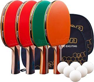 Senston Tischtennis Set, 4 Tischtennisschläger, 6 Tischtennis-Bälle und 2 Tasche Ideal für Anfänger, Familien und Profis