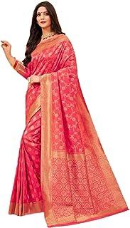 بلوزة ساري من حرير بناراسي مطبوع عليها هندية تقليدية وردية اللون 5759
