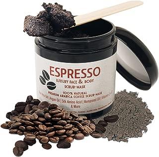 Arabica Coffee Scrub–Premium Face & Body Scrub.Anti-Aging Exfoliating Cleanser & Detoxifying Rhassoul Clay+Dry Skin Moisturizing Essential Oils.Fights Wrinkles & Cellulite.Top Gift Idea for Women, Men