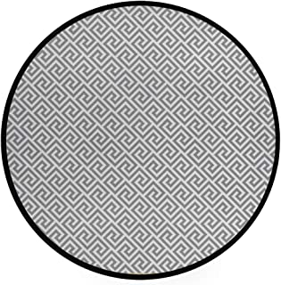 YOLIKA Home Decor Light Round Area Rug, Geometric Lines Abstract Pattern with Antique Motif Grey Labyrinth Maze ,Super Soft Circle Carpet (5'3