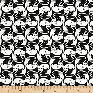 Timeless Treasures Black Intertwined Cats Fabric by The Yard