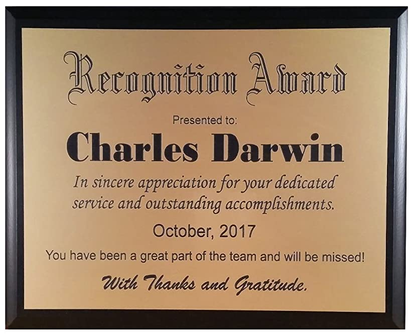 Recognition Plaque/Award - Customized to Your Specifications (Gold)