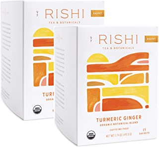 Rishi Tea Turmeric Ginger Herbal Tea, 15 Sachet Bags, 1.75 oz (Pack of 2)