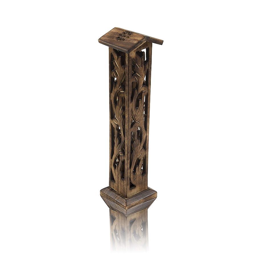 ネスト管理者自宅で木製お香スティック&コーンバーナーホルダー タワー ラージ オーガニック エコフレンドリー アッシュキャッチャー アガーバティホルダー 素朴なスタイル 手彫り 瞑想 ヨガ アロマセラピー ホームフレグランス製品