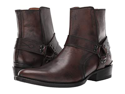 Frye Austin Inside Zip Harness (Black Brush-off Full Grain) Men