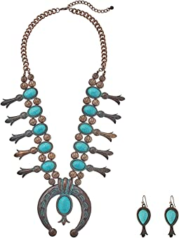 M&F Western - Large Squash Blossom Necklace/Earrings Set