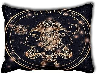Pillowcase Cushion Cover for Bed Couch Sofa Romantic Beautiful Filigree Line Art of Zodiac Gemini Ethnic Decorative Lumbar Throw Pillow Cover Rectangular 20