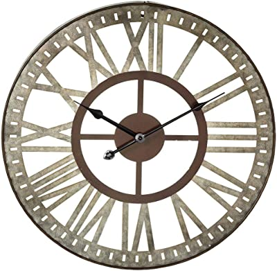 """Midwest-CBK Antique Style Roman Numeral Wall Clock - Galvanized Metal 18"""""""