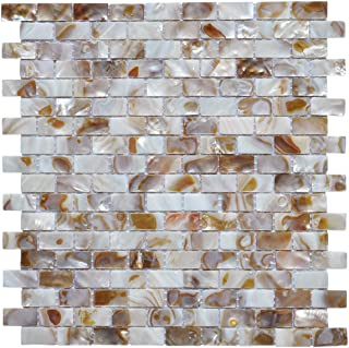 Art3d 10-Piece Mother of Pearl Shell Mosaic Backsplash Tile for Kitchen, Bathroom Walls, Spa Tile, Pool Tile, 12
