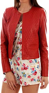 DOLLY LAMB Women's Lambskin Leather Bomber Biker Jacket Small Red